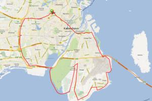 Cykel ruter med CC Grøndal - Amager ruten 65 km
