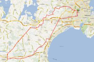 Cykel ruter med CC Grøndal - Ringsted turen125 km